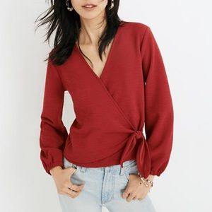 Madewell Red V-Neck Long Sleeve Wrap Top Shirt